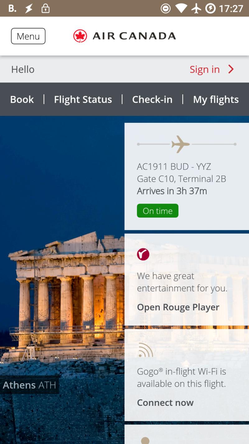 Elő lehetett fizetni WiFire az Air Canada járatán