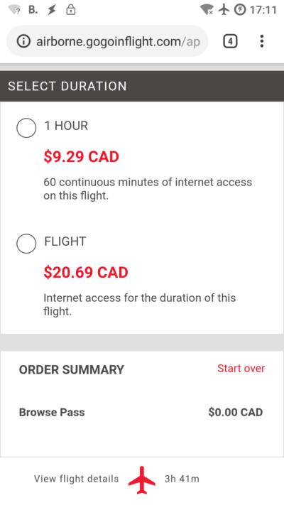 Az Air Canada WiFi árai
