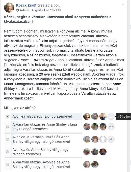 Szavazás poszt a Váratlan utazás-rajongók FB-csoportban