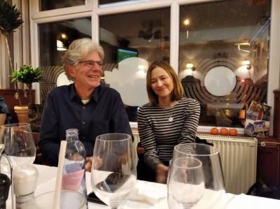John és felesége Cherie a találkozó utáni vacsorán