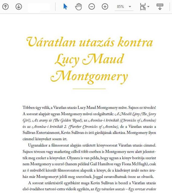 Részlet a Váratlan utazásaim című könyvből, a Váratlan utazás kontra Lucy Maud Montgomery fejezetből