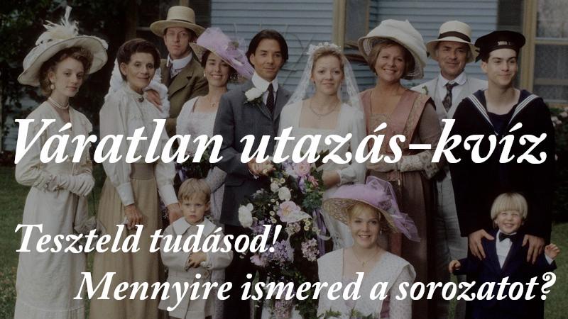 Váratlan utazás-kvíz felhívás, a képen a King család tagjai Felicity és Gus esküvője után.